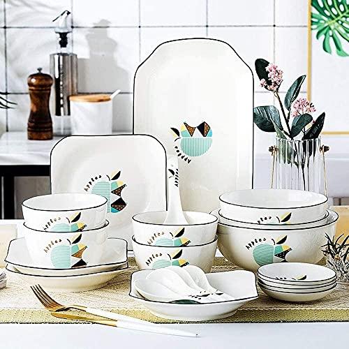 Juego de platos, Conjuntos de vajilla de Apple Paradise de 25 piezas, placa de porcelana y conjuntos de tazones para 4/6, conjunto de platos de cerámica incluyen placas cucharas de cucharas, placas de