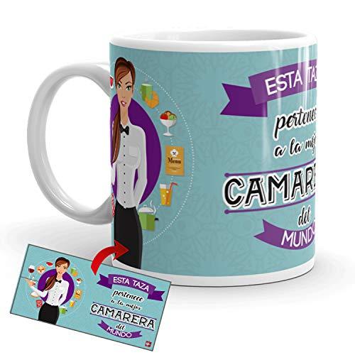 Kembilove Taza de Café de la Mejor Camarera del Mundo – Taza de Desayuno para la Oficina – Taza de Café y Té para Profesionales – Tazas de Cerámica de Profesiones – Idea de Regalo Original