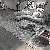 Kunsen Alfombra Salón Diseño de Rayas de gradiente Negro de Color Negro Lavables Alfombra 120X160cm