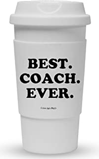 Funny Guy Mugs Best Coach Ever Travel Tumbler With Removable Insulated Silicone Sleeve, White, 16-Ounce