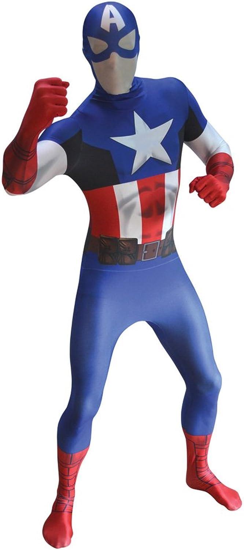 """Official  Captain America Morphsuit Fancy Dress Costume  size XXLarge  6""""26""""9 (186cm206cm)"""