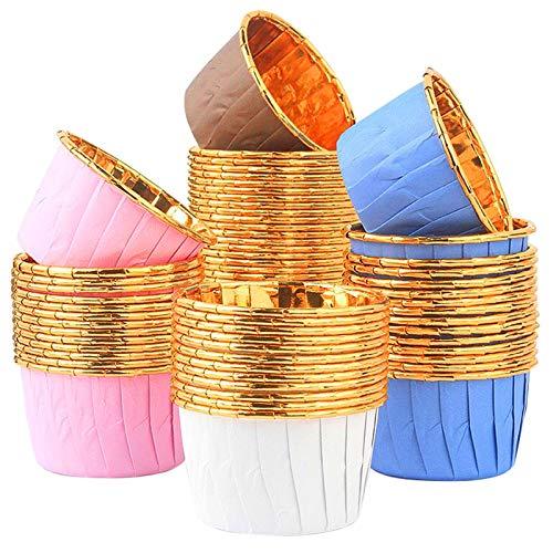 FEIXIA Tazas de Aluminio para Hornear, 200 Tazas de Aluminio Desechables para Hornear para Muffins y Cupcakes, moldes para pastelería, pequeños moldes para Muffins, Mini moldes para Muffins