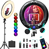 18 inch RGB Ring Light Kit, Weeylite 360° Full Color 17 Lighting Scenes 2500K-8500K Dimmable LED Ring Lights with Stand Phone & Ipad Holder/App Control/Wireless Remote for Makeup YouTube Game Vlogging