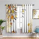 LucaSng Cortinas de Opacas - Simple Amarillo otoño Hojas. - 280x160 cm - para Sala Cuarto Comedor Salon Cocina Habitación - 3D Impresión Digital con Ojales Aislamiento Térmico Cortinas