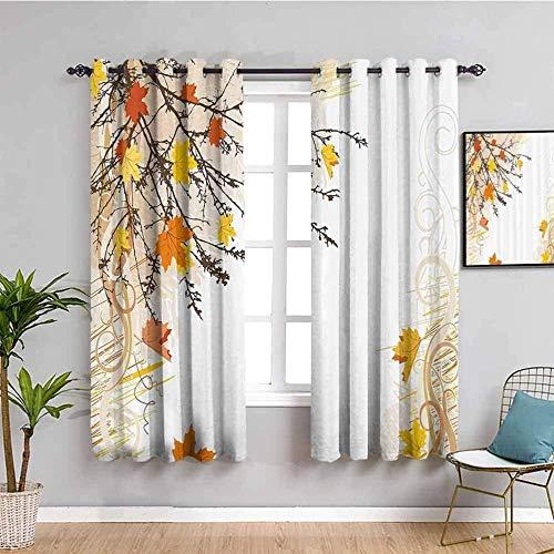 LucaSng Cortinas de Opacas - Simple Amarillo otoño Hojas. - 183x214 cm - para Sala Cuarto Comedor Salon Cocina Habitación - 3D Impresión Digital con Ojales Aislamiento Térmico Cortinas