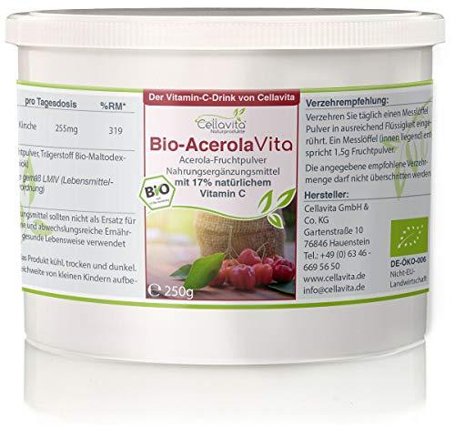 CELLAVITA Acerola Vita (Der Vitamin-C-Drink) natürliches Vitamin C aus der Acerola Kirsche | 250g Pulver