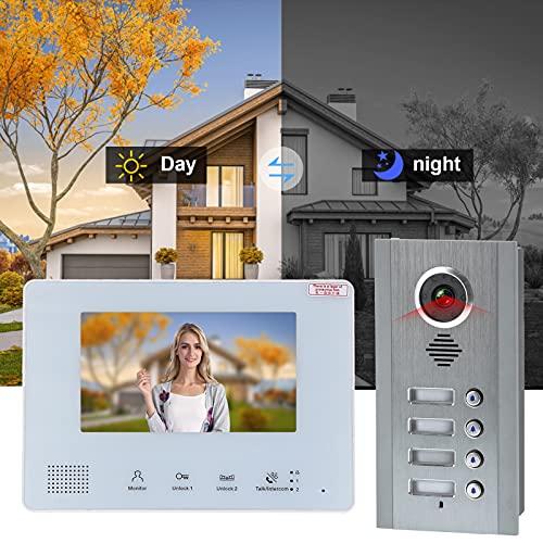 Timbre de video, desbloquea 2 cerraduras simultáneamente Teléfono de puerta Sistema de 2 cables Bajo consumo de energía flexible para intercomunicadores de entrada de puerta