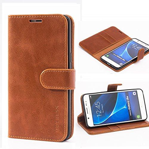 Mulbess Handyhülle für Samsung Galaxy J5 2016 Hülle, Leder Flip Hülle Schutzhülle für Samsung Galaxy J5 2016 Duos Tasche, Cognac Braun