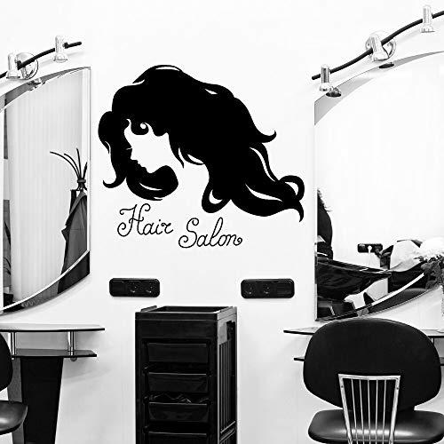 YuanMinglu Dame mit lockigem Haar Wandaufkleber Friseursalon Aufkleber Schnitt Aufkleber Wand Schlafzimmer Art Deco 91x56cm