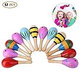 Bujingyun Mini Wooden Fiesta/Ball Musical Instruments Maracas-12pcs(Colors Vary)...