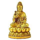 BALLYE Guanyin Bodhisattva Estatua Decoración Feng Shui, Asiento de Cobre Puro Lotus Sauce Rama Estatua de Buda Acuario Guanyin, Deidad de Asia Oriental Figurilla de compasión y Misericordia, 20 cm