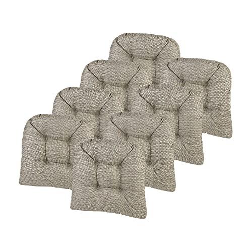 Klear Vu Tyson Gripper Universal Non-Slip Overstuffed Dining Chair Cushion, 8 Pack, Natural