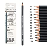 TOUARETAILS 14 Pcs/Set Professional Art Sketching Drawing Writing Pencil1B 2B 3B 4B 5B