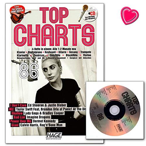 Top Charts 86 - Die aktuellsten Hits der erfolgreichsten Stars und das Beste aus den Charts! Songbook mit CD und herzförmiger Notenklammer