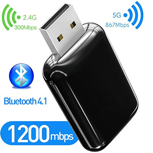 1200Mbps Bluetooth 41 USB WiFi Adapter 80211AC Dual Band 24Ghz / 58Ghz USB Wireless Adapter USB WiFi Dongle for Desktop/Computer Support OS Win Vista/XP/7/81/10/MacOS 106~10153