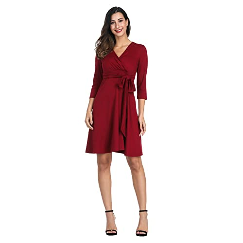 9812f086b1565 Akivide Womens A Line Casual V Neck Swing Wrap Dress Pleated