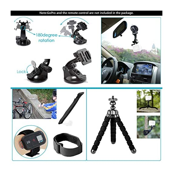 Neewer 50-In-1 Action Camera Accessory Kit, Compatible with GoPro Hero9/Hero8/Hero7, GoPro Max, GoPro Fusion, Insta360… 6 Ultimate Compatibility: Compatible with most action cameras, including GoPro Hero9 Black, Hero8 Black, GoPro Max, GoPro Fusion, and its earlier models. Also suitable for DJI Osmo Action, Insta360, AKASO, APEMAN, Campark, SJCAM, etc Straps for Head, Chest & Helmet: Designed for all head sizes and body shapes, the straps secure the camera on your head and chest for taking breathtaking POV shots of surfing, skateboarding, parachuting, and bungy jumping. The helmet strap tightly fastens your camera on a helmet for road biking races, mountain bike trails, and BMX Wrist Strap & Floating Handle Grip: The wrist strap with a 360° rotatable mount is easily adaptable to fit your wrist and arm for taking shots from different angles. The floating handle grip keeps your camera afloat in the water when swimming or snorkeling