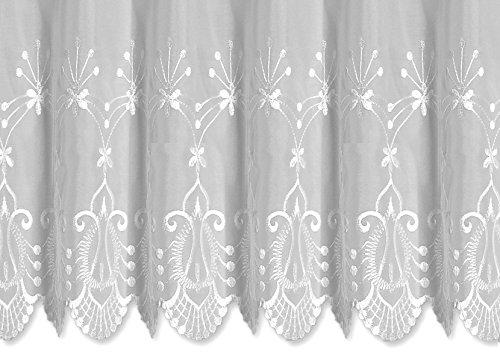 Bistrogardine Anja ca. 155x45 cm Cafehaus Gardine weiß transparent Voile Fenstergardine Vorhang Bestickt #1290 (Blume klein)