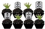 CakeSupplyShop Tombstones & Grabbing Hands Halloween Spooky -12pk Cupcake/Desert/Food Decoration Topper Picks