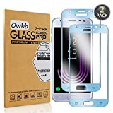 Owbb [2 unidades de protector de pantalla de vidrio templado azul para Samsung Galaxy J3 2017 J330 / J3 Pro 2017, protección completa, alta transparencia, película a prueba de explosiones