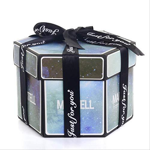 Geschenkdoos BLTLYX zeshoek verrassing explosie vak DIY handgemaakte plakboek fotoalbum bruiloft geschenkdoos voor Valentijn kerst geschenkdozen 8.9 * 12.7cm indigo sterrenhemel