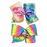 Jojo Siwa Girl's Bow Set of 2 - Rainbow Sprinkles Cupcake Keeper, Purple Tye Dye