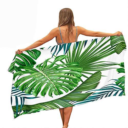 Fansu Toalla de Playa de Microfibra Rectangular Anti-Arena Secado Rápido, Verde Toalla Patrón de Hoja de Palma (Impresión a Una Cara) para Piscina de Viaje, Playa (Tropical E,70x150cm)