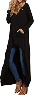 Jacansi Womens Asymmetrical Hoodie Tops High Low Hem Solid V Neck Tunic Tops