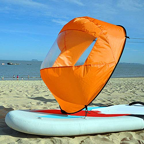 HXSD PVC Plegable Kayak Barco Viento Vela Paleta de Vela Canoa Botes de remos Ventana de Viento Transparente 108 * 108 cm,Naranja