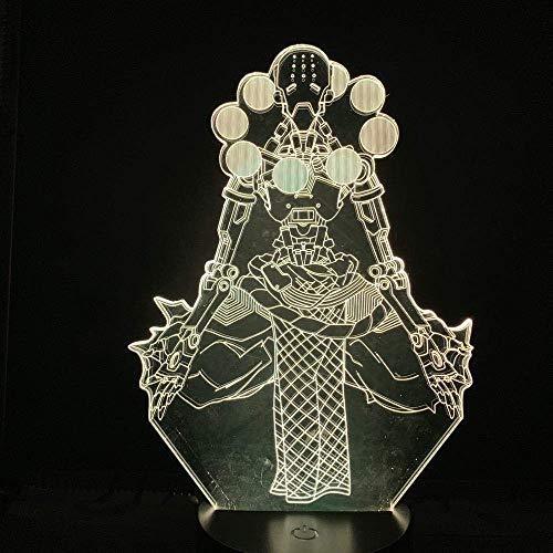 Lámpara de ilusión 3D Luz de noche Led Hero Tekhartha Zenyatta Adventurer Overwatch Senderismo Monjes mecánicos para niño Regalo