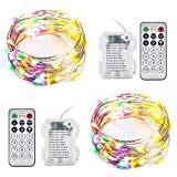 Ariceleo 2 Packs Warm White & Multi-Color Battery Operated String Lights, 5M/16.4ft. 50 LEDs Remote Control Timer 12 Modes Optional Twinkle Battery Powered Fairy Lights Sliver Wire Firefly Lights