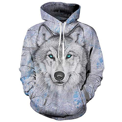 ASDFSADF Frühling und Herbst Schöne Tier 3D-Druck Wolf Tiger Übergroßer Hoodie Harajuku Street Hip Hop Hooded Sweatshirts Tops-style2._Asiatische Größe 2XL.