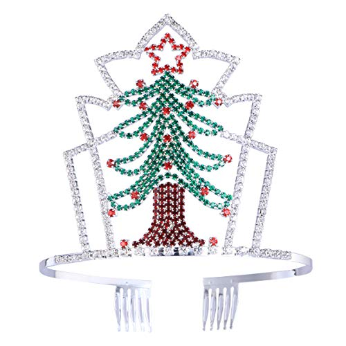 Lurrose Christmas Tree Tiara Rhinestone Crown Hair Band with Comb for Kids Adults