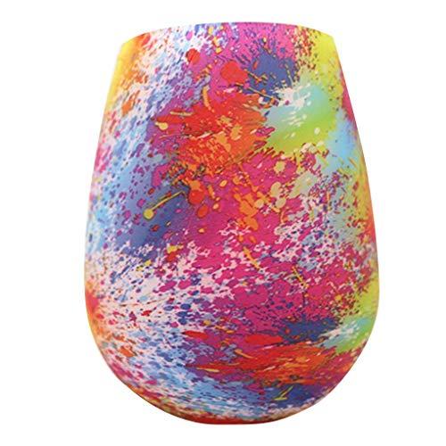 Guangcailun Botella de Bebida Taza de Colores de impresión sin pie irrompible Copa de Vino Artístico de Silicona al Aire Libre Agua Cerveza