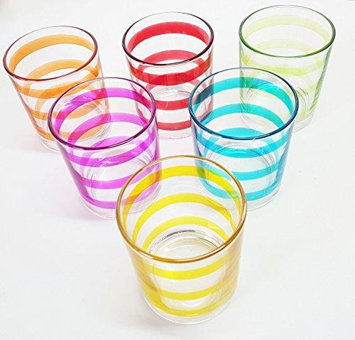 takestop® Set 6 Bicchieri Righe Colorate Strisce in Vetro da TAVOLA Multicolor 2020/0229...