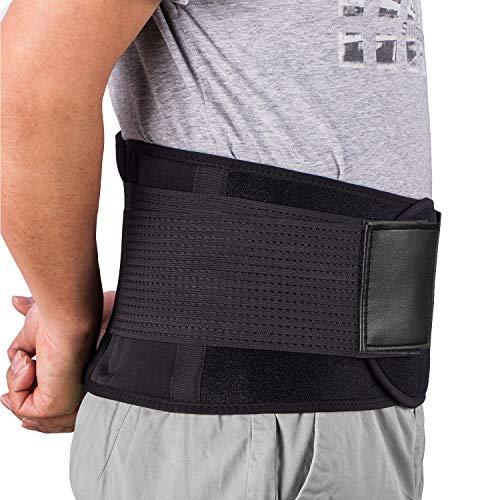 Ländrygg/ryggstödbälte – Acdyion justerbart nedre ryggstödsstöd smärtlindring dubbel justering andningsbar perfekt passform förebyggande ryggradsskada och förbättrar hållningsljus (L, svart)