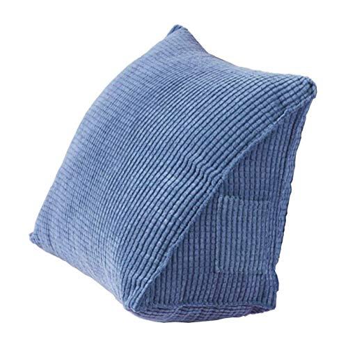 KSSPNL Almohada De Lectura Suave con Cuña De Pana Azul, Almohadas De Apoyo De Posicionamiento del Respaldo para Oficina, Cama, Sofá, Silla, Cojín Trasero Triangular
