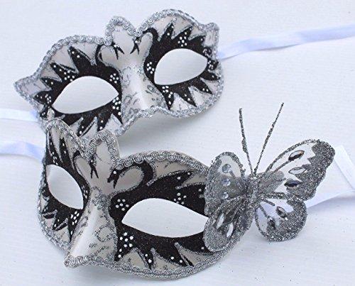 Life Is Good Son et Sien Deux Noire et Argent Papillon Coordonnée Vénitien Masque de Mascarade Partie des Yeux Masque