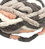 Bulky Chunky Arm Knitting Yarn Big Yarn ,Super Softee Thick Fluffy Jumbo Chenille Polyester Yarn for Blanket Pillows Home Décor Projects (Multi-Pink Grey, 2 skeins / 1 lbs)