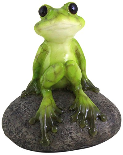 Top Collection 2.725-Inch Miniature Fairy Garden and Terrarium Cute Frog on Stone, Mini