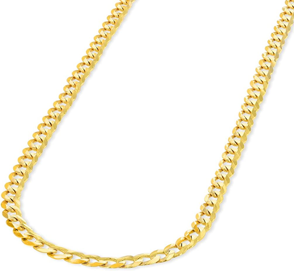 Solid 14K Yellow Gold 2.5mm Concave Cuban Link Curb Chain Necklace