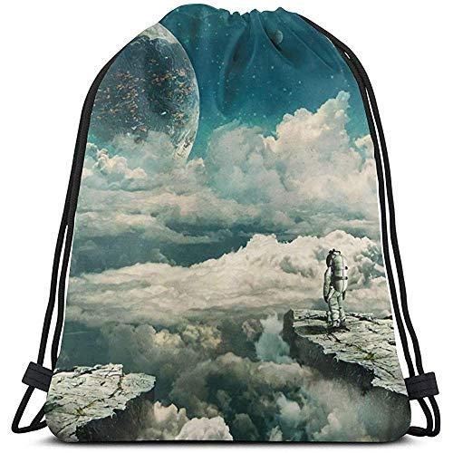 AllenPrint Sac À Dos À Cordonnet,Planet Explorer Casual Drawstring Gym Bags for Adult Outdoor Gym 36x43cm
