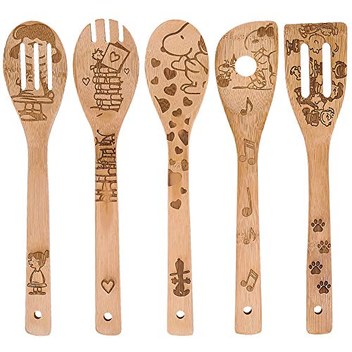 Lovely Dog,Organic Bamboo Spoons,Cooking & Serving Utensils,Burned Wooden Spoon Carved Spatulas Kitchen Utensil Set Great Gift For Chefs & Foodies Kitchen Decor (Set of 5)
