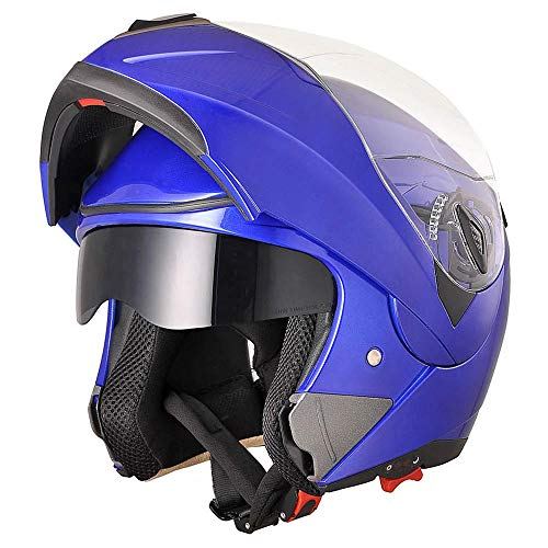 AHR Run-M Full Face Flip up Modular Motorcycle Helmet DOT Approved Dual Visor Motocross Blue XL