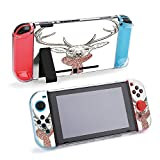 SUPNON Switch Case Compatible with Nintendo Switch Games Protective Hard Carrying Cover Case for Nintendo Switch Console Joy Con Controlle - Pen and Ink Illustration of Deer in Scarf Design23952