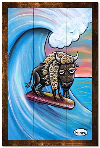 Buffalo on Surfboard Rustic Wood Art Print from Original Painting by Seattle Mural Artist Henry 24' x 36'