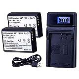LUMOS Reemplazo batería LP-E10 (Paquete de 2) y cargador USB - 1020mah 7,4V - compatible con Cámara Canon EOS 2000D 4000D 1300D 1200D 1100D