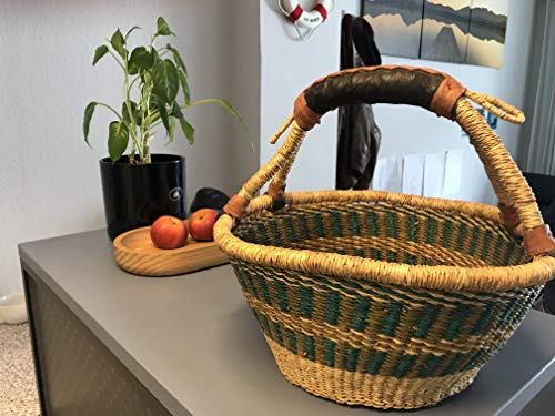 Originele Afrika fruitmand gevlochten | Bolga boodschappenmand | handwerk | Bolga mand