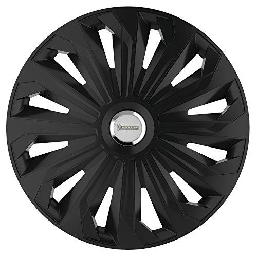 Michelin 92008 Kit d'enjoliveurs Fabienne, 4 pièces, 33,02 cm (13 pouces) avec système réflecteur N.V.S., noirs