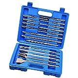 Albañilería Drill Bit Set de Martillo del cincel de Rotary Ronda mango del destornillador para hormigón y ladrillo con el azul del caso del almacenaje 17pcs para el hogar Hardware Herramientas